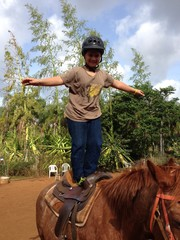 Boy standing on a horse