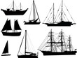 Detaily fotografie seven black ship silhouettes isolated on white