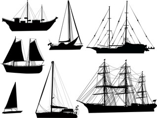 seven black ship silhouettes isolated on white