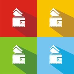 Iconos billetera colores sombra