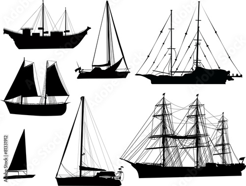 seven black ship silhouettes isolated on white - 81331912
