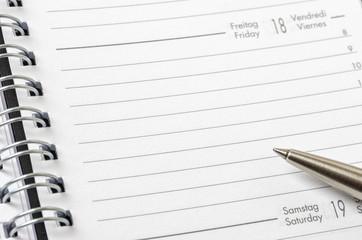 Unbeschrifteter Terminkalender
