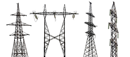 set of four electrical pylons on white background
