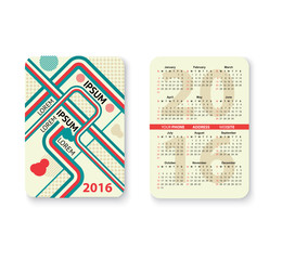 Set of pocket calendar
