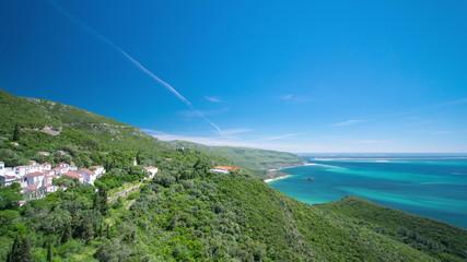 beach bay in Portinho da Arrabida from top, Portugal timelapse