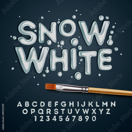 Snow white alphabet and numbers - 81332509