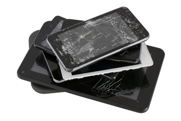 Heap of gadgets with the broken screens