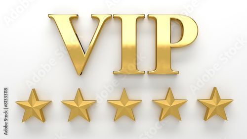 Leinwanddruck Bild VIP - Very important person - gold 3D render on the wall backgro
