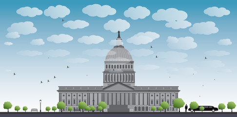 Washington DC Capitol landscape with cloud and blue sky, USA