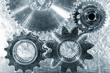titanium and steel cogwheels, aerospace engineering