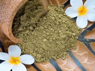 Tiare flowers and henna powder