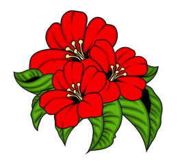 Red Flowers Vector Bunch
