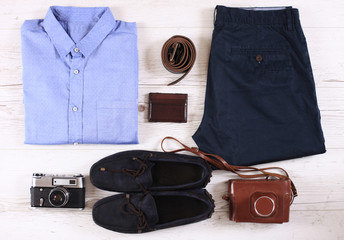 Set of male casual clothing, and retro photocamera