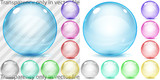 Set of multicolored transparent and opaque glass spheres poster
