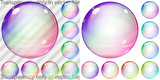 Set of colorful transparent and opaque glass spheres poster