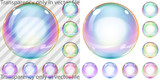 Set of multicolored transparent and opaque soap bubbles poster