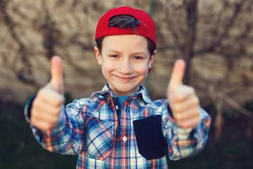Little boy thumbs up vintage