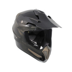 Dark gray motocross motorcycle helmet Isolated on white