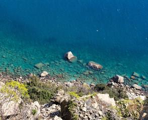 ligurian seascape viewed from Punta Manara cliff