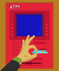 Insert or remove a debit card in atm