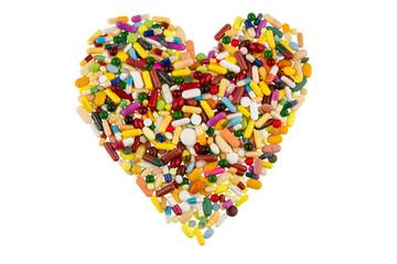 Bunte Tabletten in Herzform