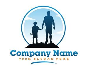 silhouette man boy parents son person logo image vector