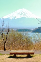 Kawaguchiko lake with mountain fuji background