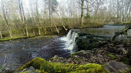 pure fresh water waterfall in forest, Latvia