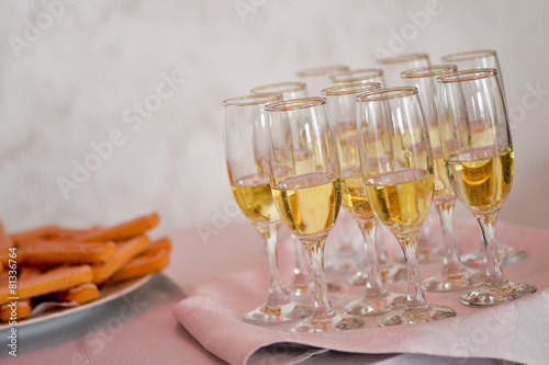Filled champagne glasses Poster