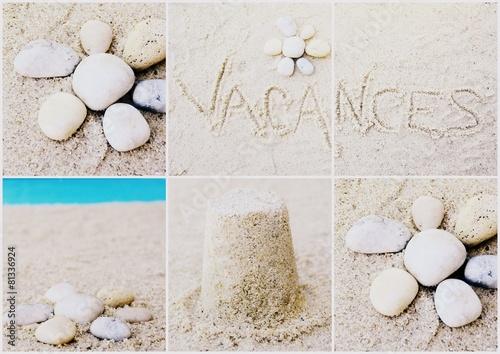 Papiers peints Zen pierres a sable montage,vacances,bord de mer,plage et galets