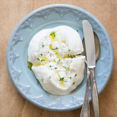 Apulien Burrata Cheese  with Olive Oil, Thyme, Salt and Pepper