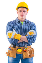 portrait of young men wearing working clothes with tools isolate
