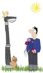 Hombre con ramo de flores.