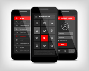 mobile phones ui red buttons