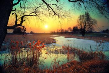 Winter rural landscape at sunset