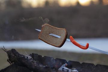 bread roasted on skewer