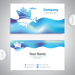 business card - holiday cruise ship - big whale - symbol sea