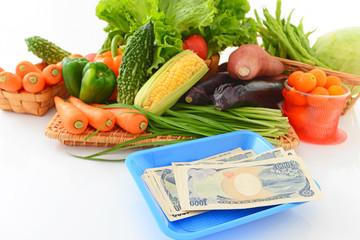 日本の紙幣と新鮮な野菜