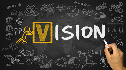 vision concept handwritten on blackboard