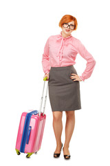 Full length portrait of a Business woman in glasses  in business