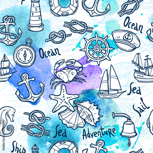 Nautical Seamless Pattern - 81339968