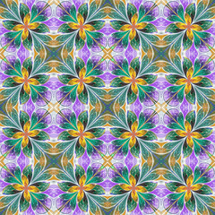 Multicolored symmetrical pattern in stained-glass window style o