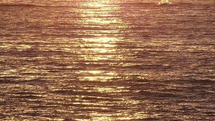 Golden Waving Sea Waters at Sunrise