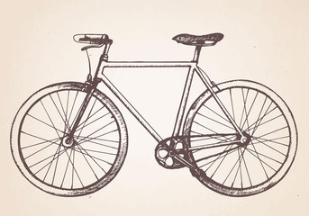 Hand drawn vintage bicycle. Vector