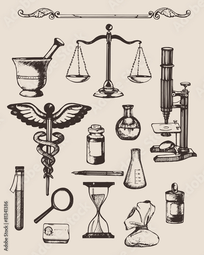 Set of hand-drawn elements of pharmacy or chemistry. Vector. - 81341386