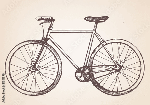 Hand drawn vintage bicycle. Vector - 81341399
