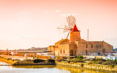 Windmill in Sicily, sea salt production, Trapani,Italy.
