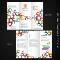 colorful tri-fold brochure design with flowing circles
