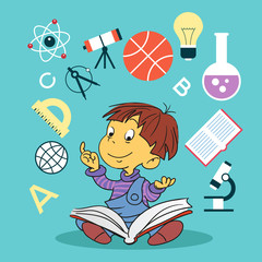 child with book and education icons