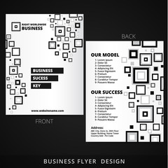 front and back flyer design with black square elements